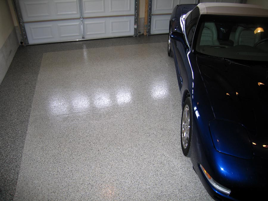 An example of garage floor epoxy by Ohio Garage Interiors.