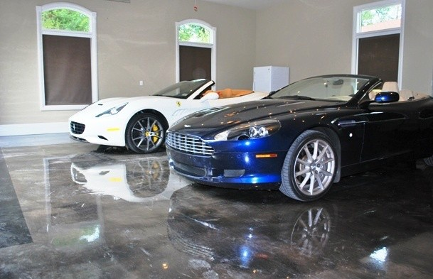 Ohio Garage Interiors Metallic Epoxy Floor showcasing cars