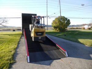 forklift on semi truck ramp