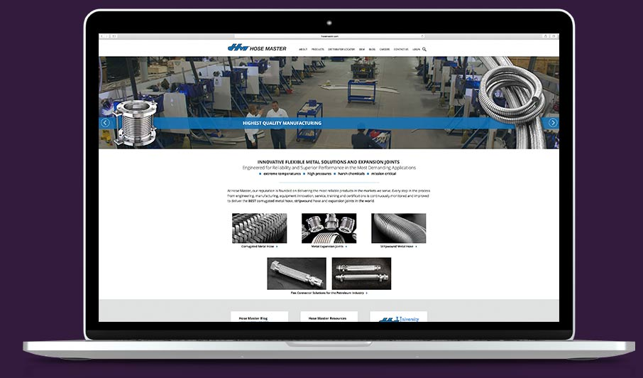 industrial website design work sample
